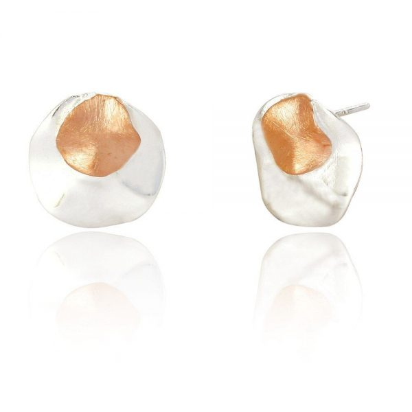 Circular Folded Sterling Silver and Rose Gold Stud Earrings (SP162)