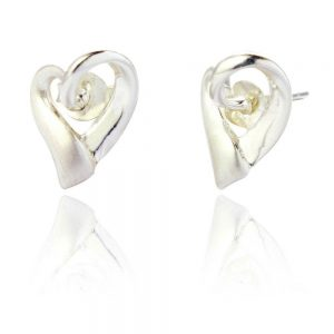 Sterling Silver Organic Heart Shaped Earrings (SP169)