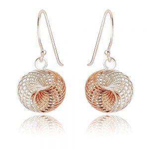 Spirograph Design Sterling Silver and Rose Gold Drop Earrings (SP262) | Silver Jewellery