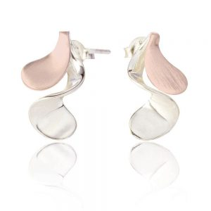 Sterling Silver and Rose Gold Twist Earrings (SP175) | Silver Jewellery