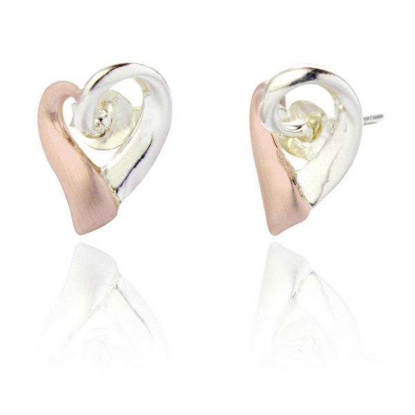 Sterling Silver and Rose Gold Heart Earrings (SP168)