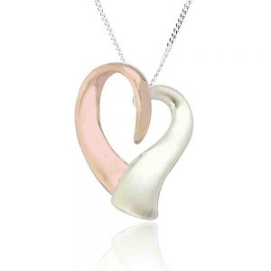 Sterling Silver and Rose Gold Heart Pendant (SP101) | Silver Jewellery