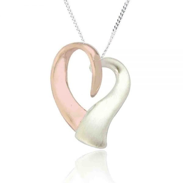 Sterling Silver and Rose Gold Heart Pendant (SP101)