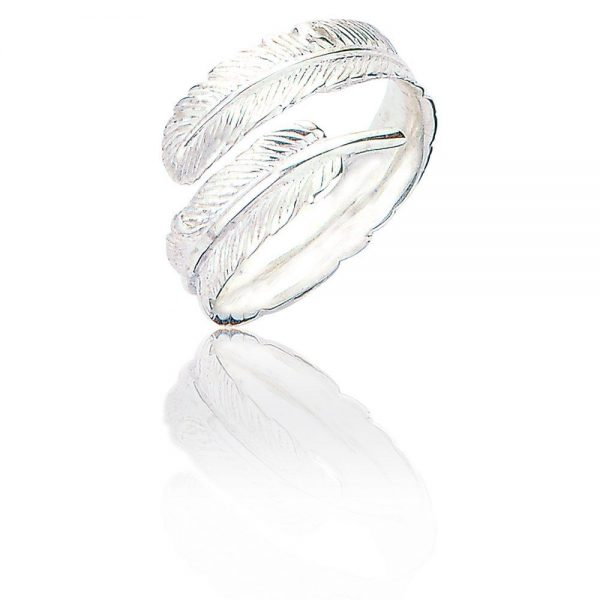 Sterling Silver Adjustable Ring - Silver Feather (SP274)