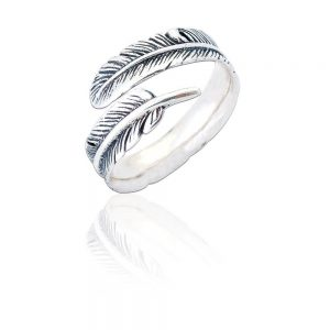Sterling Silver Adjustable Ring - Oxidised Silver Feather (SP273)