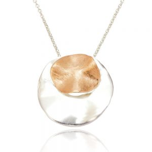 Circular Folded Sterling Silver and Rose Gold Pendant (SP145) | Silver Jewellery