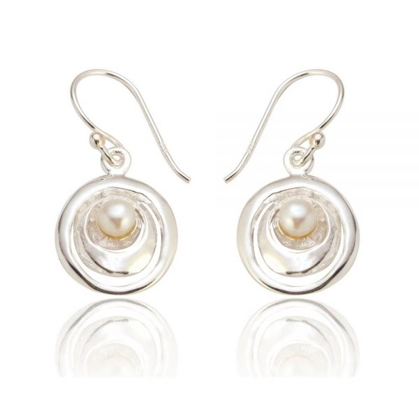 Sterling Silver Drop Earrings with Pearls (SP226)