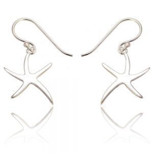Starfish Sterling Silver Drop Earrings (SP224) | Silver Jewellery