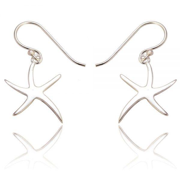 Starfish Sterling Silver Drop Earrings (SP224)