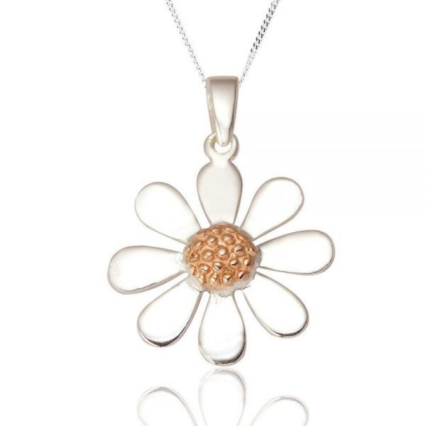 Sterling Silver and Rose Gold Daisy Pendant (SP218) | Silver Jewellery