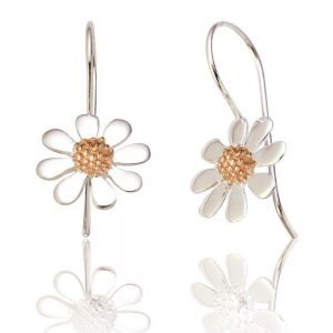 Sterling Silver and Rose Gold Daisy Drop Earrings (SP217) | Silver Jewellery