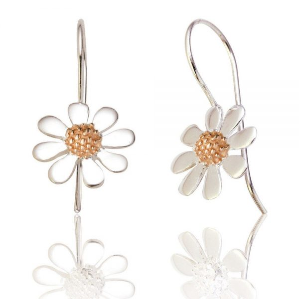 Sterling Silver and Rose Gold Daisy Drop Earrings (SP217)
