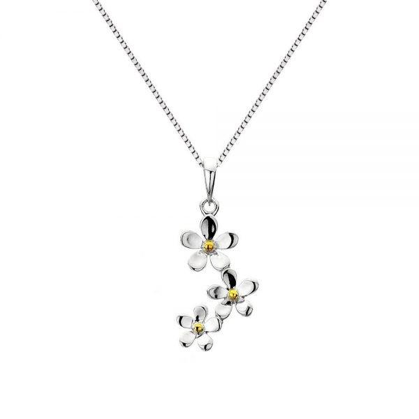 Triple Daisy Sterling Silver Pendant (SM09) | Silver Jewellery