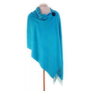 Azure Blue Pashmina with Pin