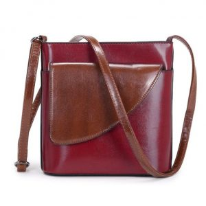 Small Wine Red and Brown Crossbody Bag (LS1046)