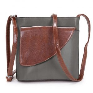 Small Dark Grey and Brown Crossbody Bag (LS1045)