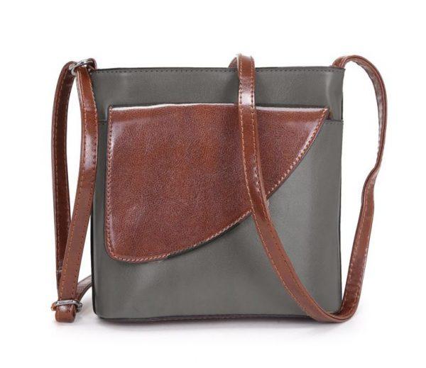 Small Dark Grey and Brown Crossbody Bag (LS1045)