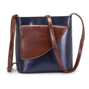 Small Navy and Brown Crossbody Bag (LS1012)