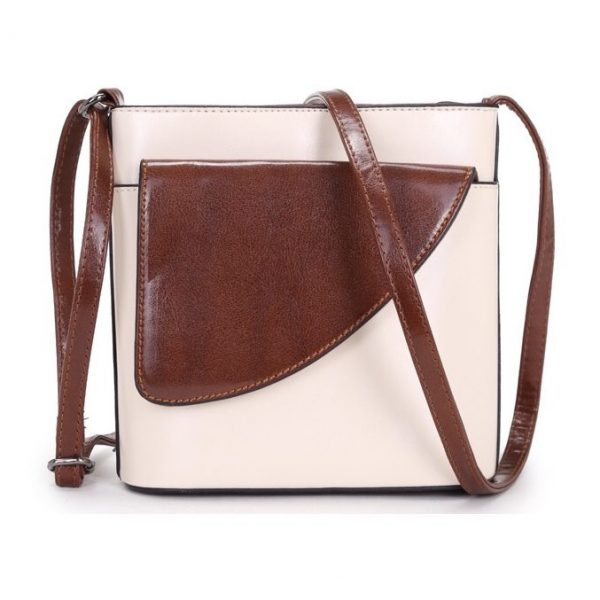 Small Cream and Brown Crossbody Bag (LS1013)