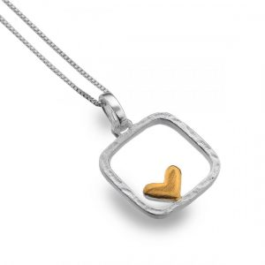 Sterling Silver Square Pendant with Gold Heart (SM17)