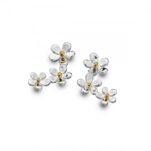Triple Daisy Sterling Silver Stud Earrings (SM10)