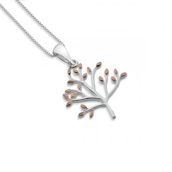Sterling Silver and Rose Gold Olive Tree Pendant (SM24)