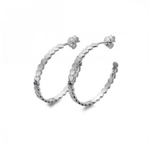Sterling Silver Circle Heart Hoop Earrings (SM05)