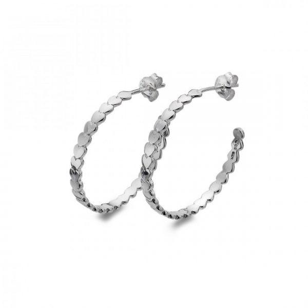 Sterling Silver Circle Heart Hoop Earrings (SM05) | Silver Jewellery