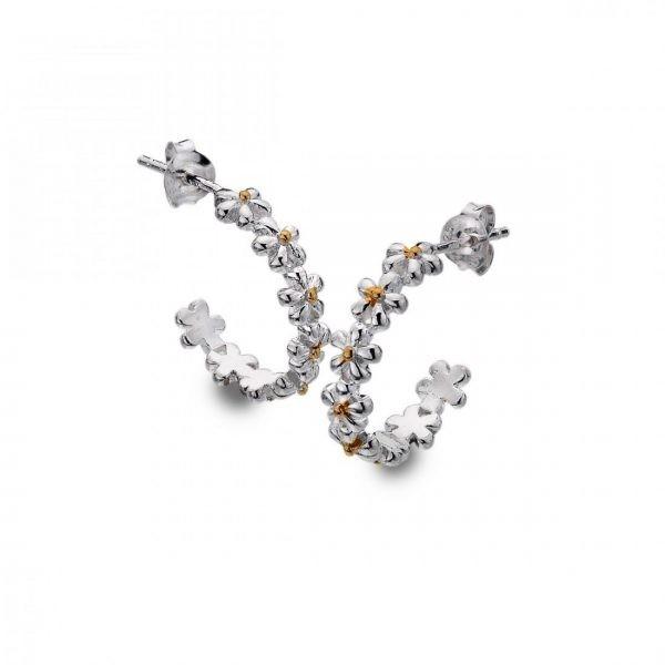 Sterling Silver Daisy Hoop Earrings (SM02)