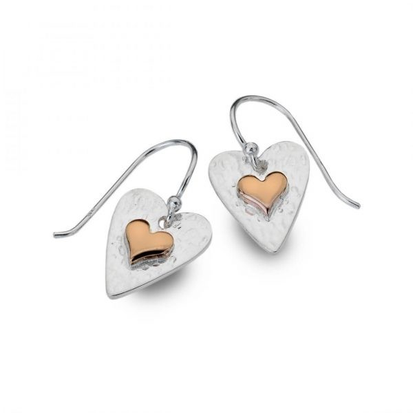 Sterling Silver Hammered Heart Earrings with Rose Gold Inner (SM12) | Silver Jewellery