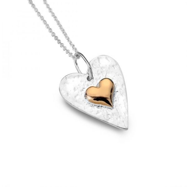 Sterling Silver Hammered Heart Pendant with Rose Gold Inner (SM11) | Silver Jewellery