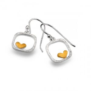Sterling Silver Square Earrings with Gold Heart (SM18) | Silver Jewellery