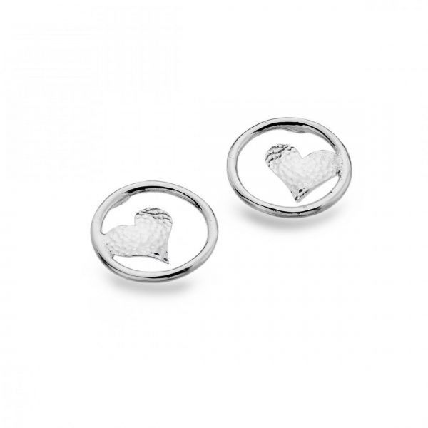 Sterling Silver Open Circle with Hammered Heart Stud Earrings (SM08)