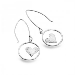 Sterling Silver Open Circle with Hammered Heart Long Hook Earrings (SM07)