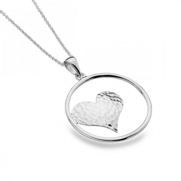 Sterling Silver Open Circle with Hammered Heart Pendant