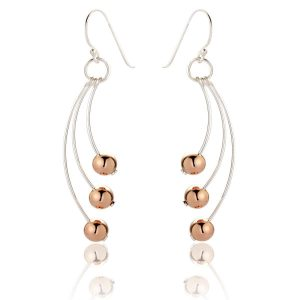 Rose Gold and Sterling Silver Drop Earrings (SP276) | Silver Jewellery