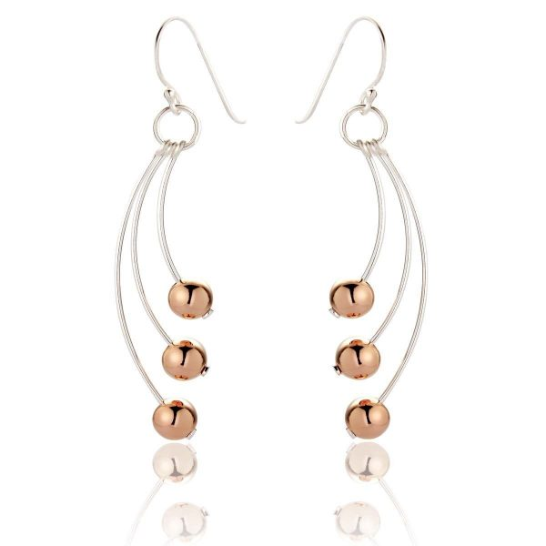 Rose Gold and Sterling Silver Drop Earrings (SP276)