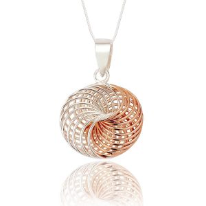 Spirograph Design Sterling Silver and Rose Gold Pendant (SP263) | Silver Jewellery