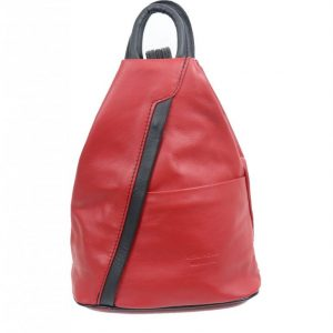 Italian Leather Red/Black Backpack - Large (BAG54)