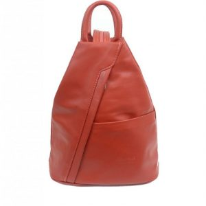 Italian Leather Burnt Orange Backpack - Large