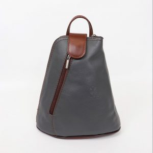 Italian Leather Dark Grey Backpack - Small (BAG7)