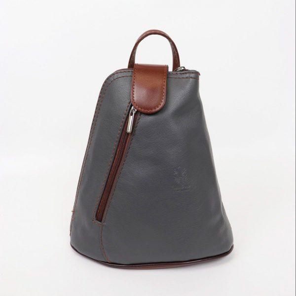 Italian Leather Dark Grey Backpack - Small (BAG7)