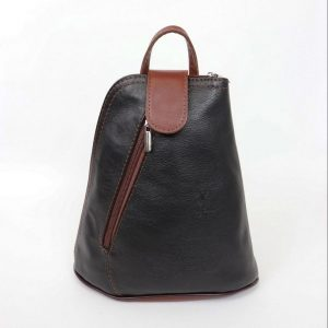 Italian Leather Black/Brown Backpack - Small (BAG39) | Italian Leather Bags