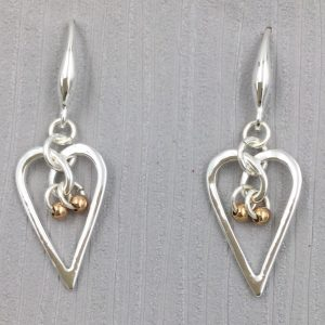 Elegant Silver Heart Shaped Earrings (G503)