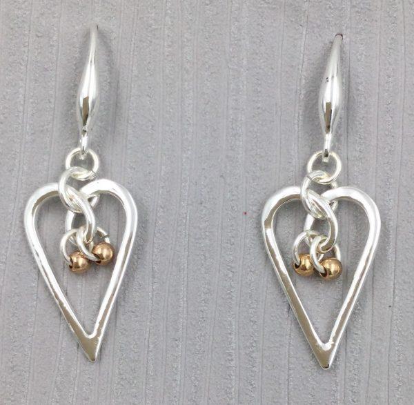 Elegant Silver Heart Shaped Earrings (G503)