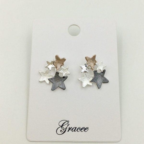 Beautiful 4 Tone Star Stud Earrings (G451)