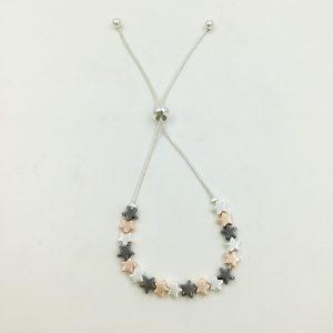 Pretty 3 Tone Star Bracelet (G437) | Silver Jewellery