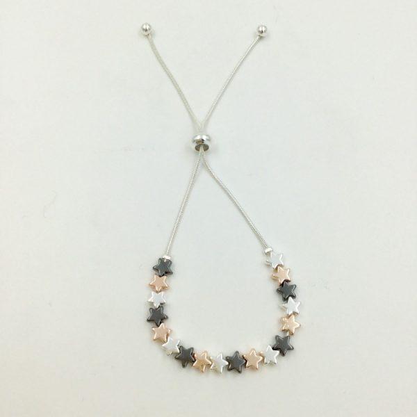 Pretty 3 Tone Star Bracelet (G437)