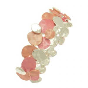 Coral Layered Disc Bracelet (M109)