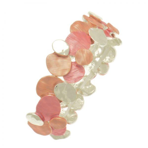 Coral Layered Disc Bracelet (M109)